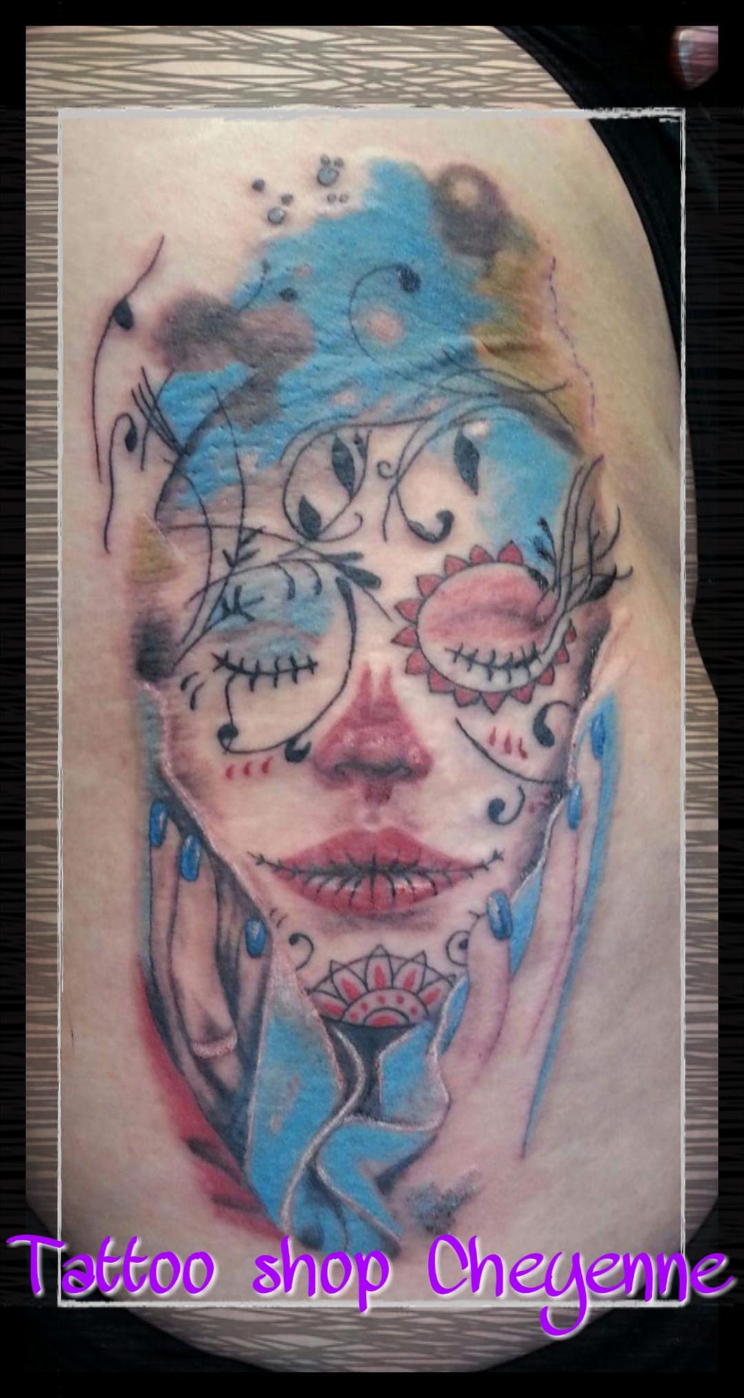 Kleur Tatoeage Piercing Ontwerp Tattoo Shop Cheyenne